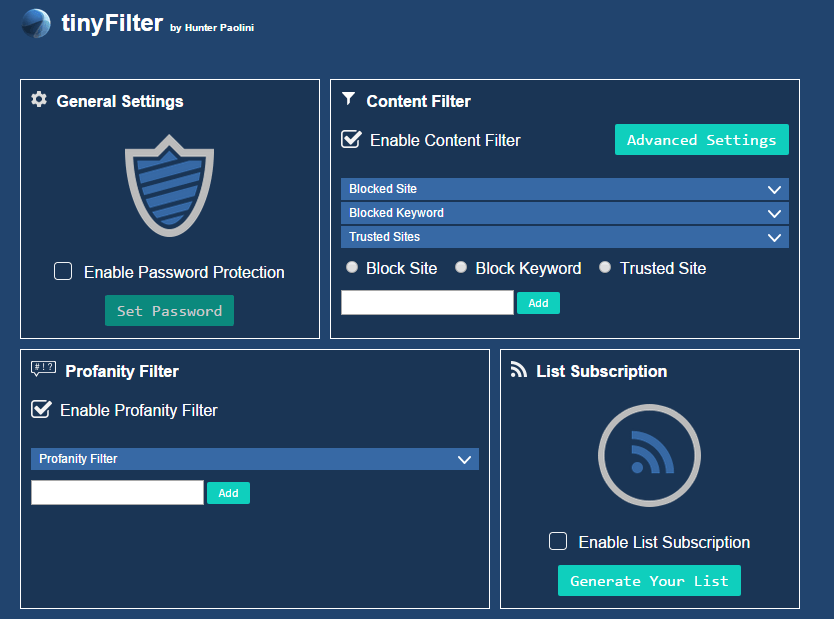 Download TinyFilter Extension CRX for Chrome Free