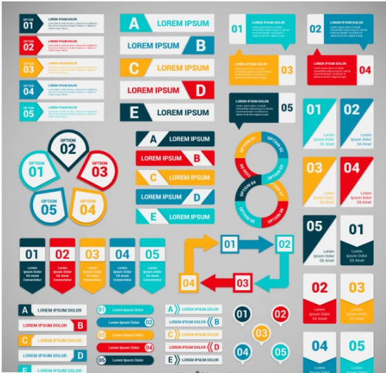 Download Colorful banners for infographic Free