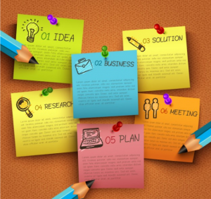Download Business Infographic with Pinned Notes Free