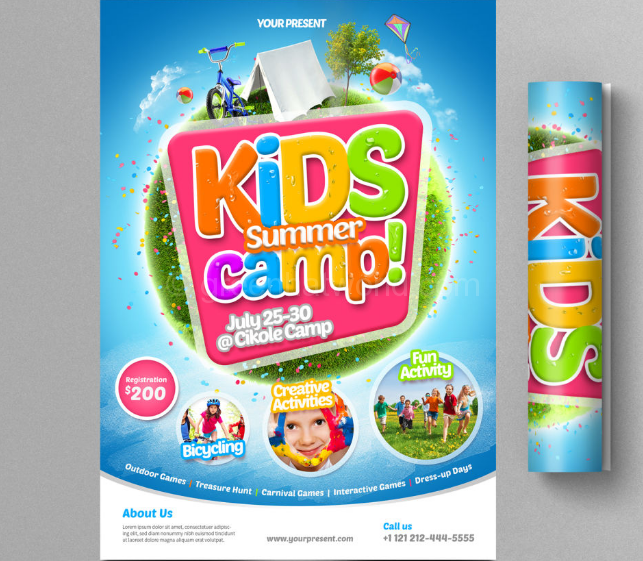 Download Kids Summer Camp Flyer Print Template Free