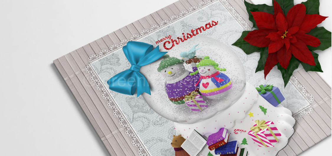 Download Snow Ball Christmas Greeting Card Template Free