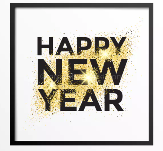 Download Gold Glitter New Year Greeting Card Free